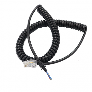 4 core 6 core 6p4c 4p4c telephone coiled cable and phone coil cord