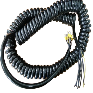 Black 9 core gloss PU jacket 6mm crimped eyes on each core flexible spiral electrical cable