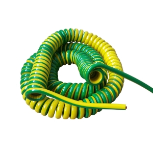 Customized 18 AWG stranded bare copper yellow green 7 wire coiled cable