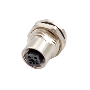 Front or back mount M12 C code 3 4 5 6 pin M12 socket connector