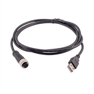 M12 straight 4 pin female to male USB 2.0 connector  molded 1 M 2 M 3M cable