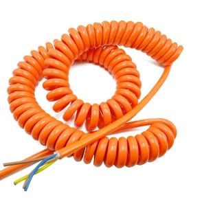 Orange 20 AWG stranded copper wire 4 core coiled electrical cable