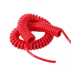 Red retractable 8 core pp core pu outer jacket shield curly cable