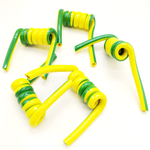 Yellow and green stripe 10 11 core TPU spiral cable