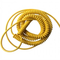China 1000 mm coil closed length 5 6 7 8 core yellow pur material coiled cable extend lengh reach 10 meters long factory