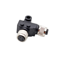 China 3 4 5 8 12 core M12 L Type Right angle Elbow Female to Female Cable Adapter Connector factory