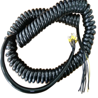 China Black 9 core gloss PU jacket 6mm crimped eyes on each core flexible spiral electrical cable factory