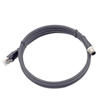 China Ethernet patch cable M12 8 Pin male connector to RJ45 Industrial Ethernet cable factory