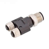 China M12 Male 3 4 5 pin to M8 two female 3 4 5 pin splitter connector factory
