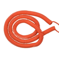 China Orange extend 10 Meters 5 core 20 AWG PVC PUR coiled retractable cable factory