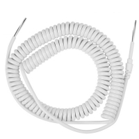 China White 24 AWG stranded copper 8 core coiled wire cable with strain relief stretch length reach 5 M factory