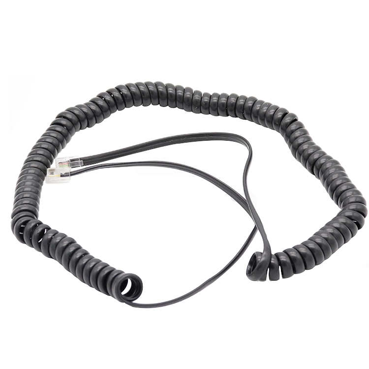 6p4c curly cable china factory rj11 spiral cable supplier telephone coiled cable manufacturer